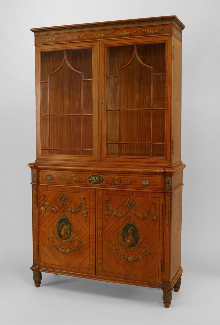 Georgian furniture characteristics - Pair Of English Sheraton Style Cent Satinwood And Decorated Breakfront Cabinets With 2 Lattice Top Doors