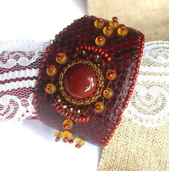 Statement bracelet Everyday bracelet Embroidered bracelet