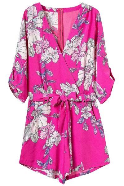 Hot Pink Floral Print Elbow Sleeve Rompers