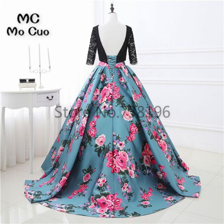 Elegant 2017 Print Pattern Prom dresses Long with Half Sleeves Lace long graduation dresses Women Evening. Click visit to buy #PromDress #Dress