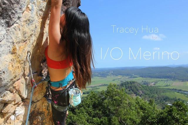 Tracey Hua #rockclimbing #croptop #organe #merino #blueskies