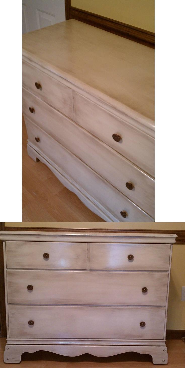 DIY: Refurbished dresser- Almond color spray paint with brown glaze.