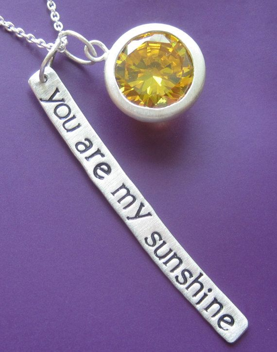 SALE You Are My Sunshine Necklace by sudlow on Etsy