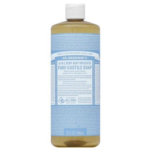 Keep your baby's sensitive skin clean with this mild soap from Dr. Bonner's. The soap is unscented and is perfect for protecting your baby's skin from allergies. Made from natural ingredients, the pure castile soap is very gentle on soft skin.