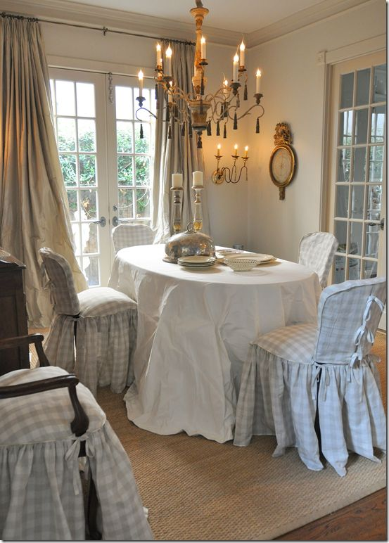.: Dining Rooms, Riviera, Corsets Slipcovers, Dining Chairs, Cote De Texas, Houses Romances, Window Treatments, Dining Tables, Joni Webb