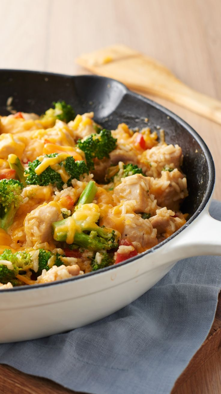 This easy complete one-pot meal is sure to become a family favorite. Add chicken, rice, broccoli and red pepper to your trusty skillet and dinner will be on the table in no time.