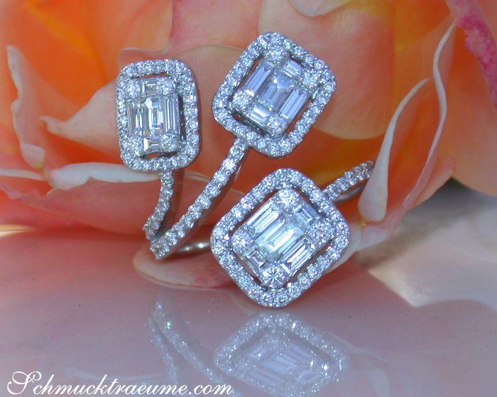 Ausgefallener Brillanten Ring mit Baguette Diamanten