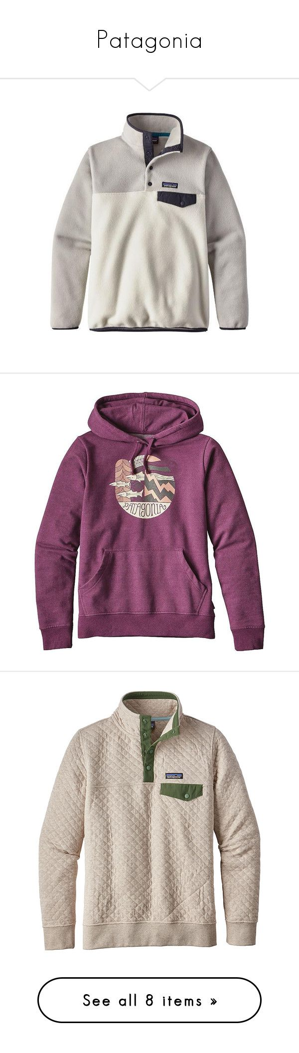 """""""Patagonia"""" by taylormaccallister ❤ liked on Polyvore featuring patagonia, tops, hoodies, violet red, purple hoodies, purple hoodie, hooded pullover sweatshirt, purple pullover hoodie, red pullover hoodie and white"""