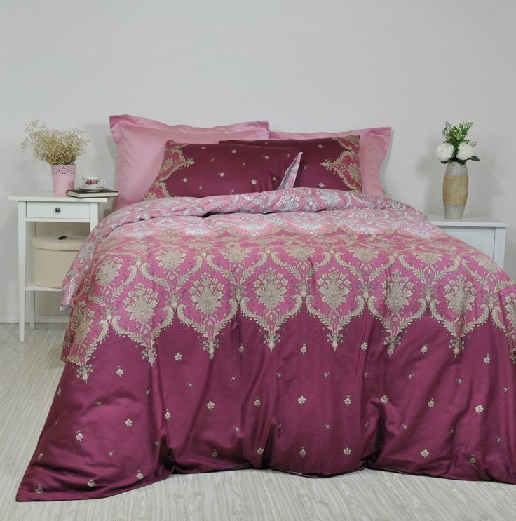Damask Bedding in Dusty Pink, Maroon, Marsala for Full Queen King, Cotton Sateen Moroccan Style, Boho Bedding, 6 pcs Duvet Cover & Sheet Set by RoseHomeDecor on Etsy https://www.etsy.com/listing/478197753/damask-bedding-in-dusty-pink-maroon