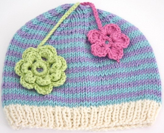Beanie for 6-9mth Lilac and Cream with Pink & Green Flowers. CHF25.00, via Etsy.