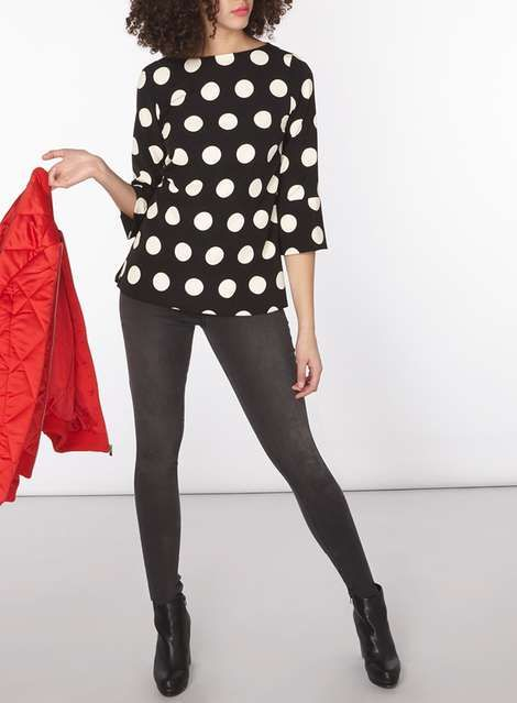 Monochrome Spotted T-Shirt - Tops & T-Shirts - Clothing - Dorothy Perkins