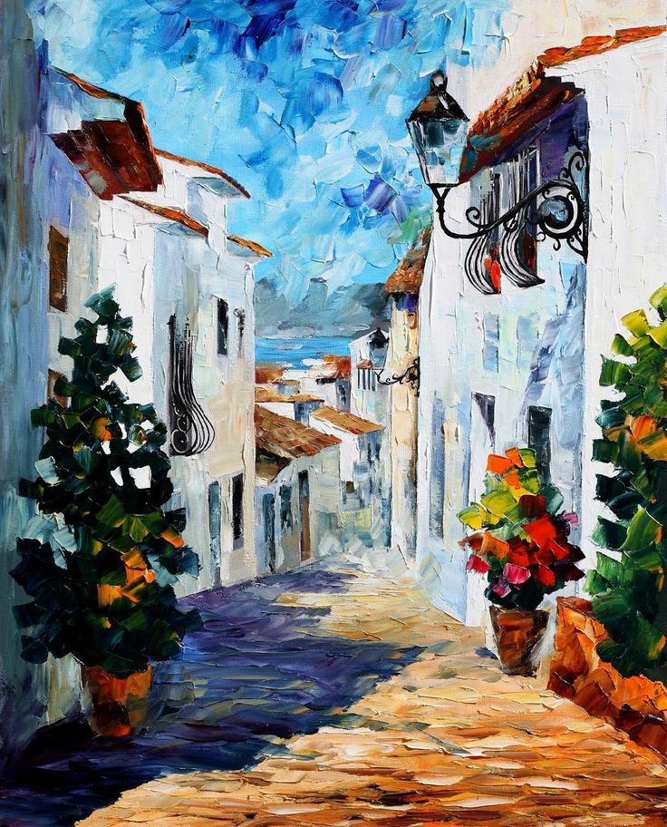 Leonid Afremov, oil on canvas, palette knife, buy original paintings, art, famous artist, biography, official page, online gallery, scape, outdoors, autumn, town, park, scape, leaf, fall, european cities, city, night, streets, rain, greece