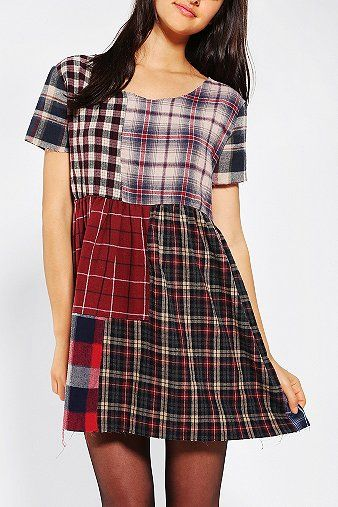 Urban Renewal Patchwork Flannel Dress from Urban Outfitters..don't be afraid to rock the plaid!