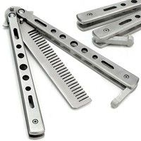Wish | Silver Practice Butterfly Knife Trainer Folding Knife Dull Tool outdoor camping knife comb