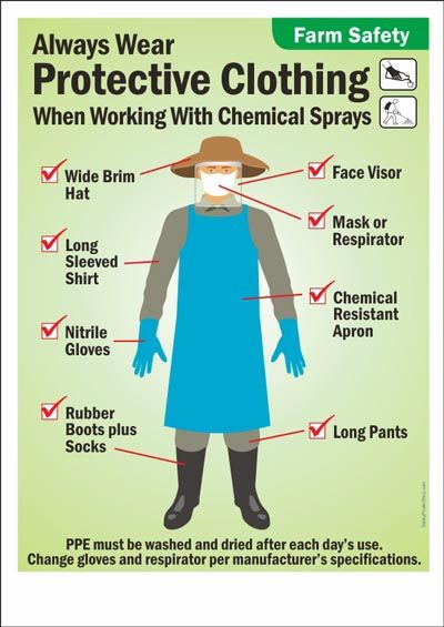 Ppe For Working With Chemical Sprays Labels Safety
