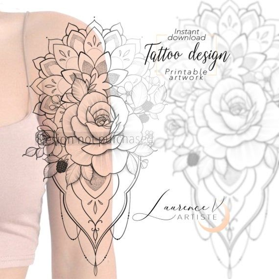 Instant Download Tattoo Design Flowers Fruits Mandala Tattoo Etsy In 2020 Tattoo Designs Tattoos Mandala Tattoo