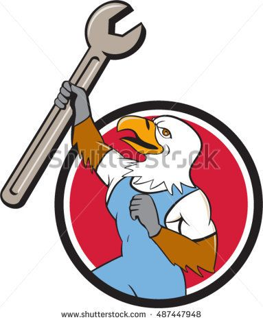 Illustration of a american bald eagle mechanic holding spanner looking to the side set inside circle on isolated background done in cartoon style.  #mechanic #cartoon #illustration
