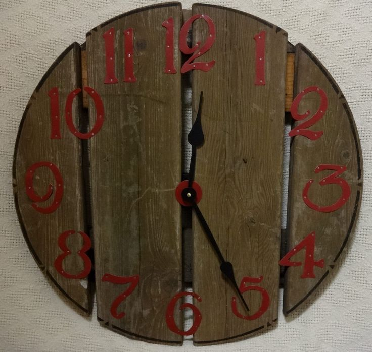 22 Inch RUSTIC RECYCLED Wall CLOCK from a Discarded Pier with Red Hand Cut Metal Numbers by ClocksByHomestead on Etsy