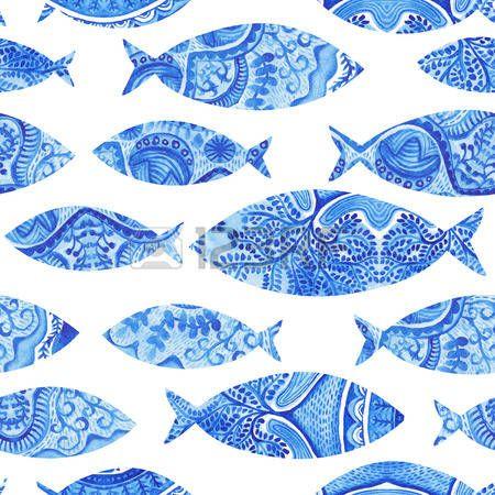pesci stilizzati: seamless con i pesci, dipinto di sfondo acquerello a mano, pesce acquerello, sfondo trasparente con stilizzato fish.Wallpaper blu, tessuto acquerello, ornamenti blu di avvolgimento