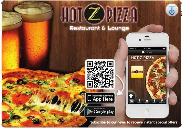 Hot Z Pizza Mobile App Flyer by Tetrad Marketing    http://hotzpizza.tetrad4u.com