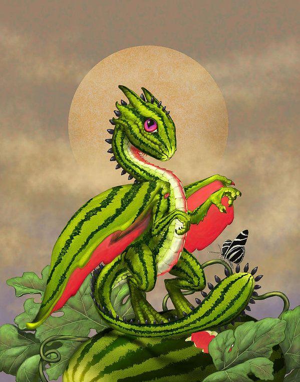 Watermelon Print featuring the digital art Watermelon Dragon by Stanley Morrison