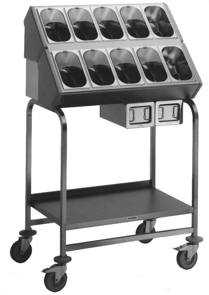 GTARDO.DE:  Besteck- und Tablettwagen, 10 Besteckbehälter GN 1/4-150, für 120 Tabletts u. 1100 Besteckteile 1 355,00 €