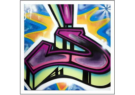 Letter J Graffiti by RISK- RISK depicts a example of the letter J in graffiti tag throw up street art style. . Limited edition Giclée art print artwork by famous graffiti artist RISK.