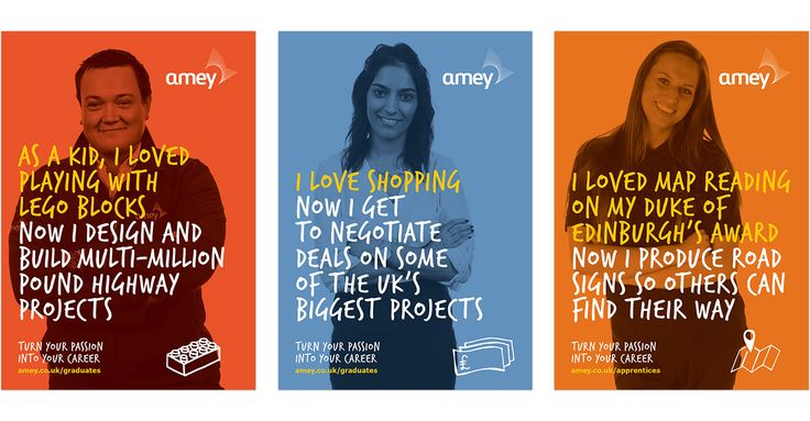 Development of Amey Graduate Recruitment Campaign – 'Turn your passion into your career'. A multi-channel campaign with film, social, print & advertising.