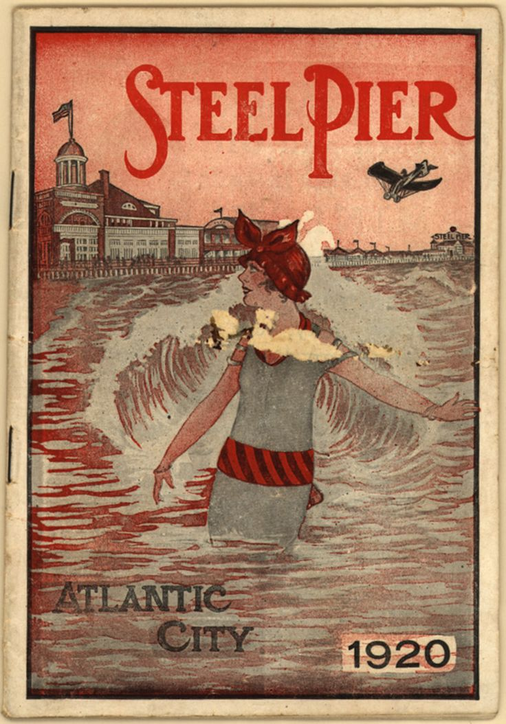 Steel Pier, Atlantic City, 1920 ~ front cover of booklet advertising businesses and entertainments