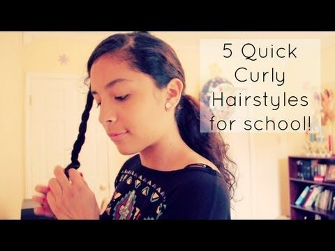 5 Quick Curly Hairstyles. Super cute. I think I'll skip out on the bows though, haha