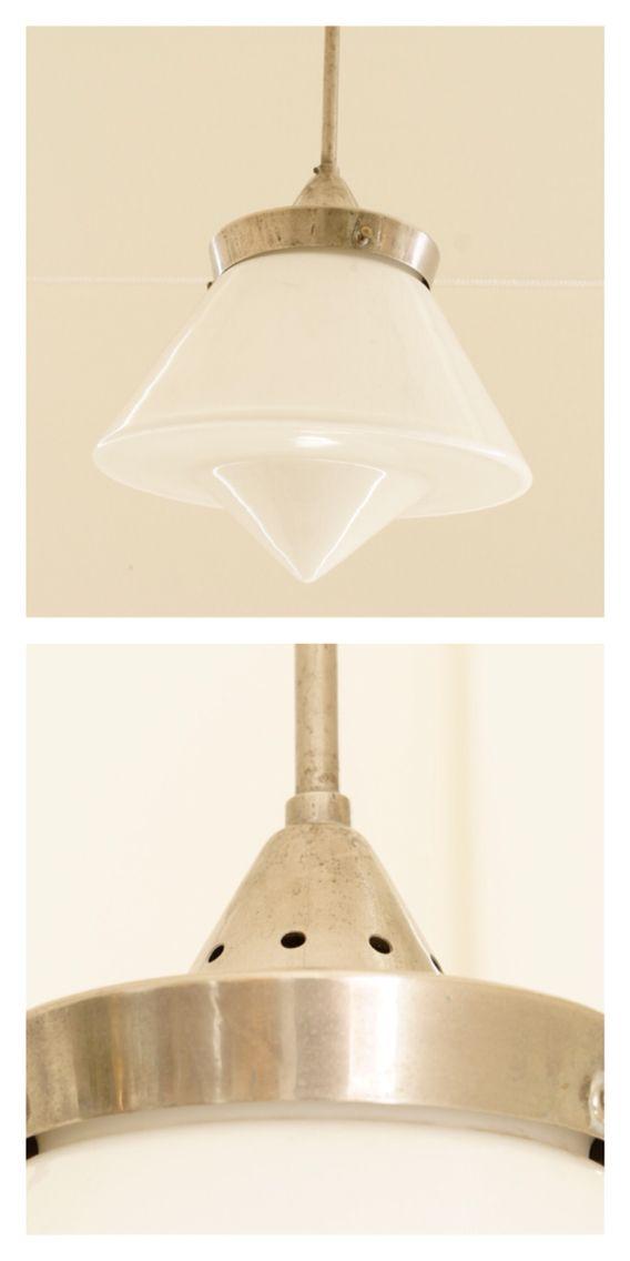 Czech modernist ceiling light, white glass shade, c.1920s.
