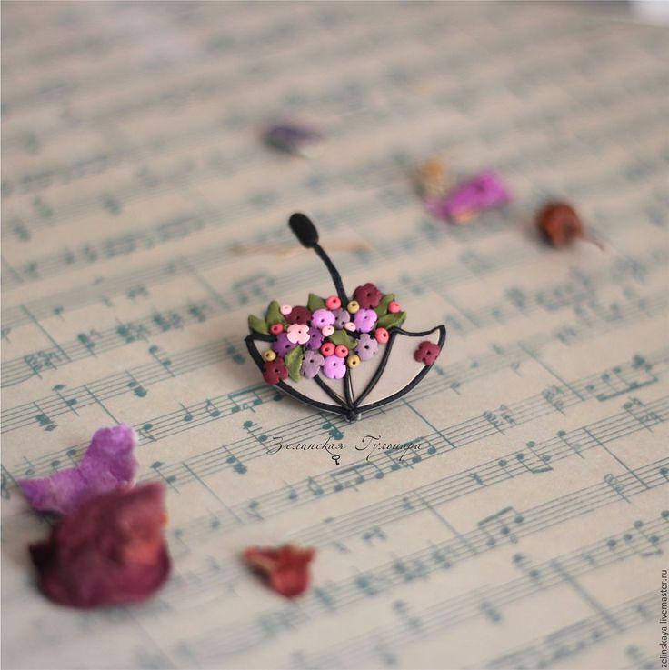 Купить После летнего дождя. Брошь - сиреневый, розовый, серый, зонтик, брошь зонт