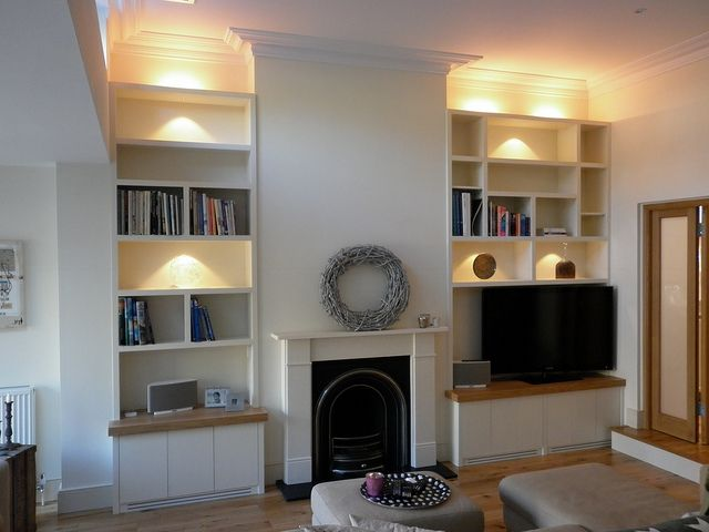 Alcove storage with TV on shelf. different width alcoves like ours. perhaps we should have the TV on the bigger side?