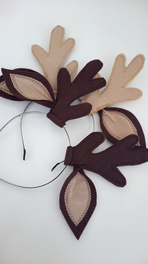 Felted reindeer horn reindeer horn deer ears with horn for Reindeer antlers headband craft