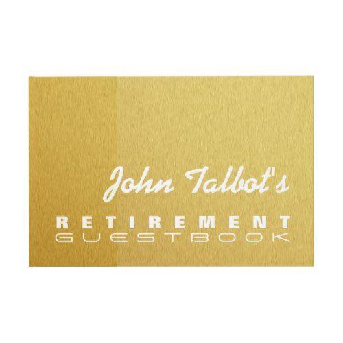 Golden Texture Custom Retirement Guest Book
