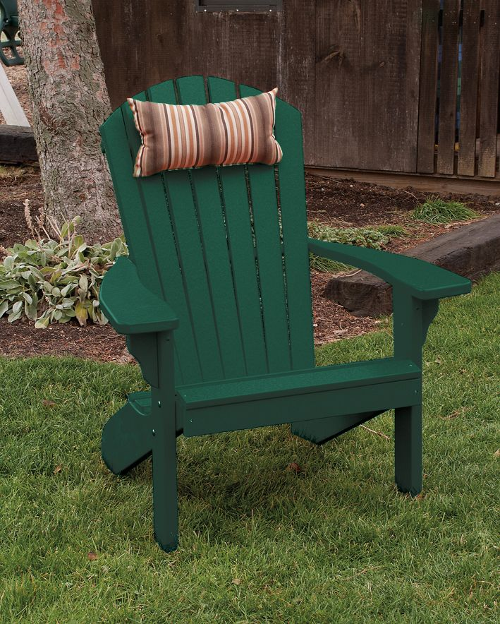 classically designed forest green fanback polywood adirondack chair great for the lawn patio