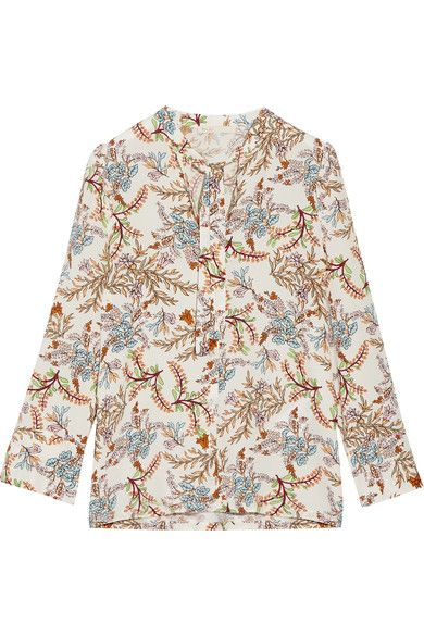 Maje - Pussy-bow Floral-print Crepe De Chine Blouse - White - 2