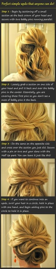 short hair updo that anyone can do! and it doesnt involve curling - I wouldn't pin bottom section just blow wave under