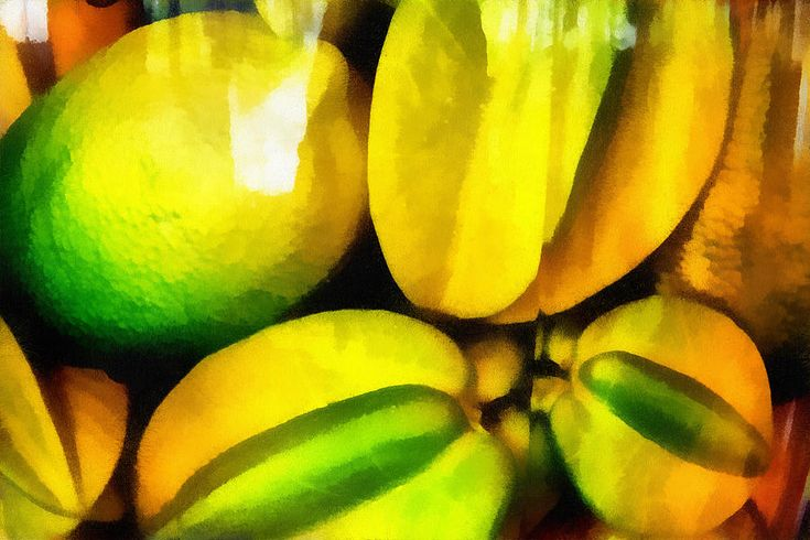 Yellow Fruits. Lemon And Carambola. Impressionism by Jenny Rainbow