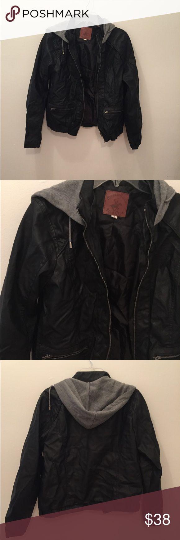 Rare vintage polo leather jacket Gorgeous leather jacket, with grey hood Jackets & Coats