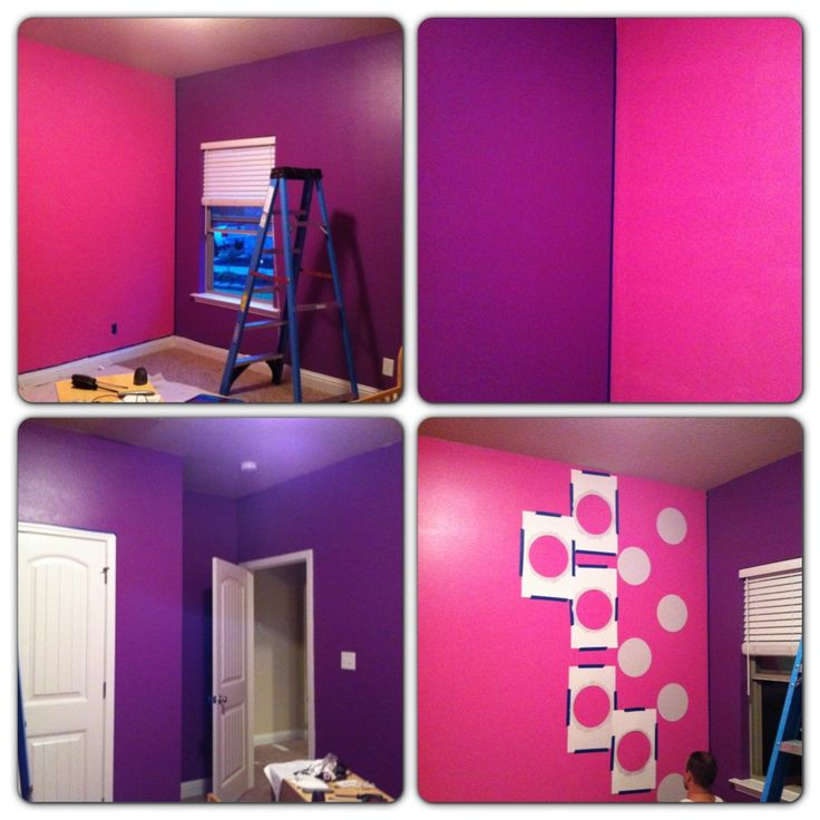 My daughter asked for a purple minnie mouse room and daisy room this is the painting process my - Purple and pink girls bedroom ...