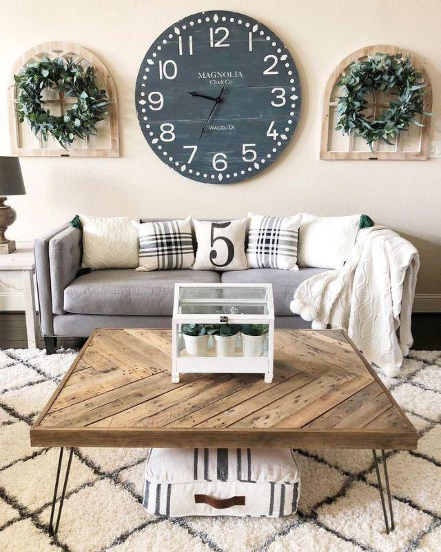 Love The Big Grey Clock Farm House Living Room Wall Decor