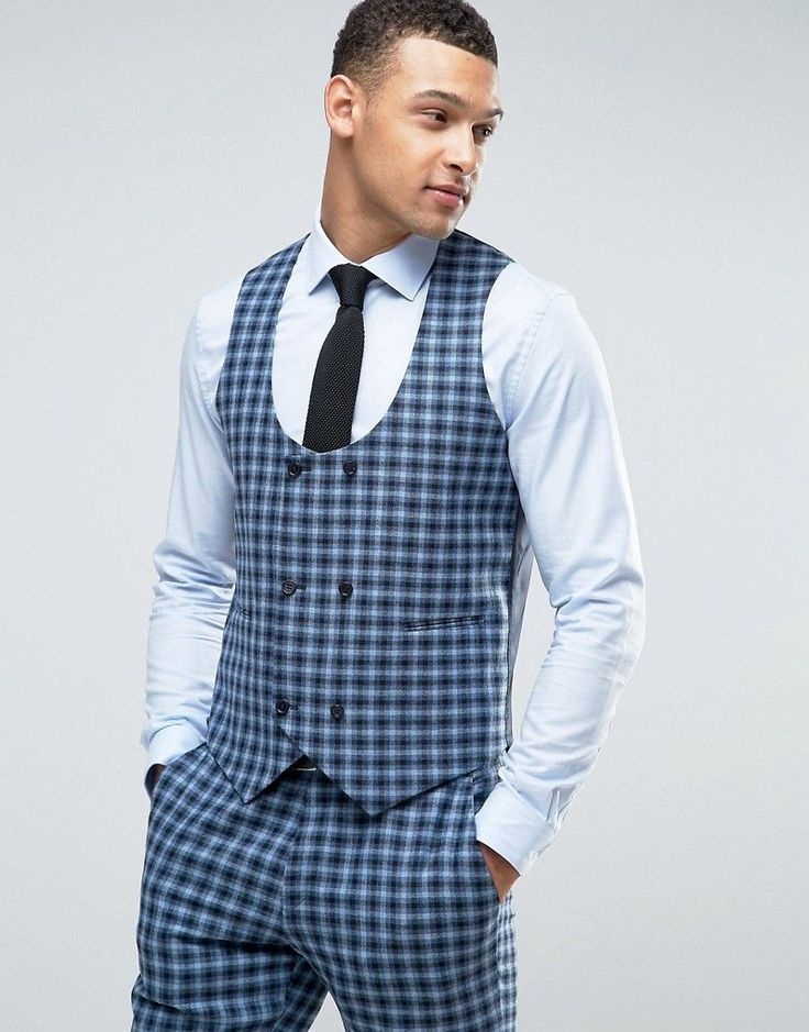 ASOS Slim Suit Double Breasted Vest In 100% Wool Blue Check - Blue