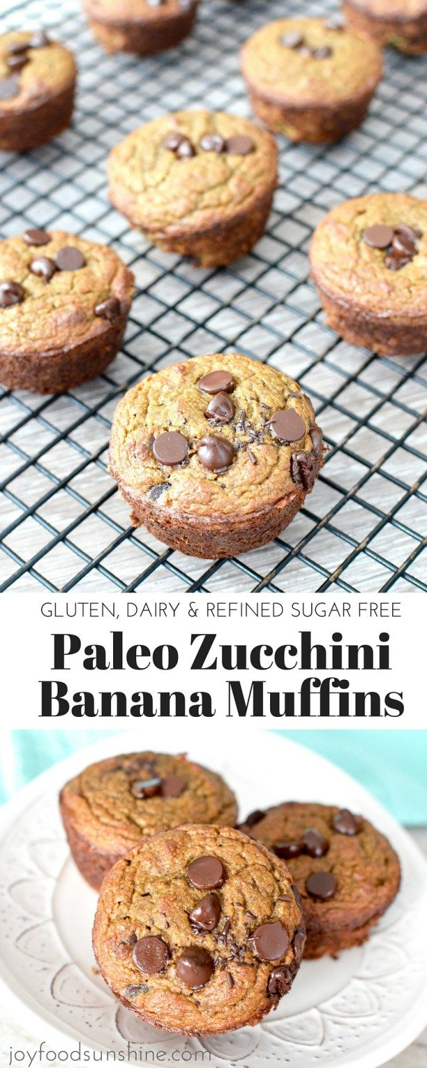 Paleo Zucchini Banana Muffin Recipe! A healthy way to start your day! The perfect breakfast that is paleo, gluten free and dairy free!