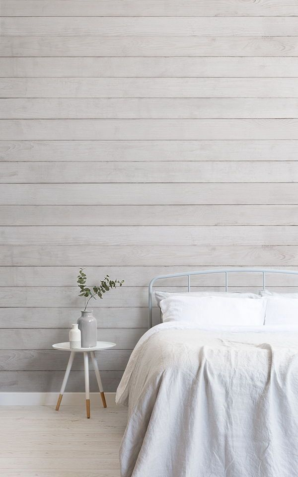 Cream Wood Panel Wallpaper Neutral Wood Mural Muralswallpaper In 2020 Brick Wall Bedroom Grey Colour Scheme Bedroom White Wallpaper