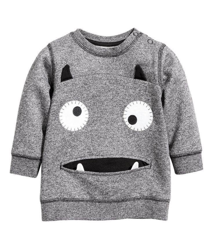 Sweatshirt   Black melange   Kids   H&M US