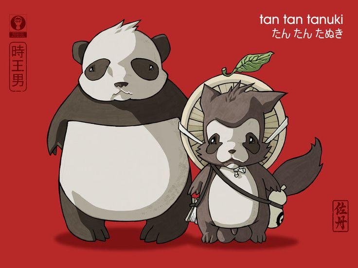Panda and Tanuki by tan-tan-tanuki