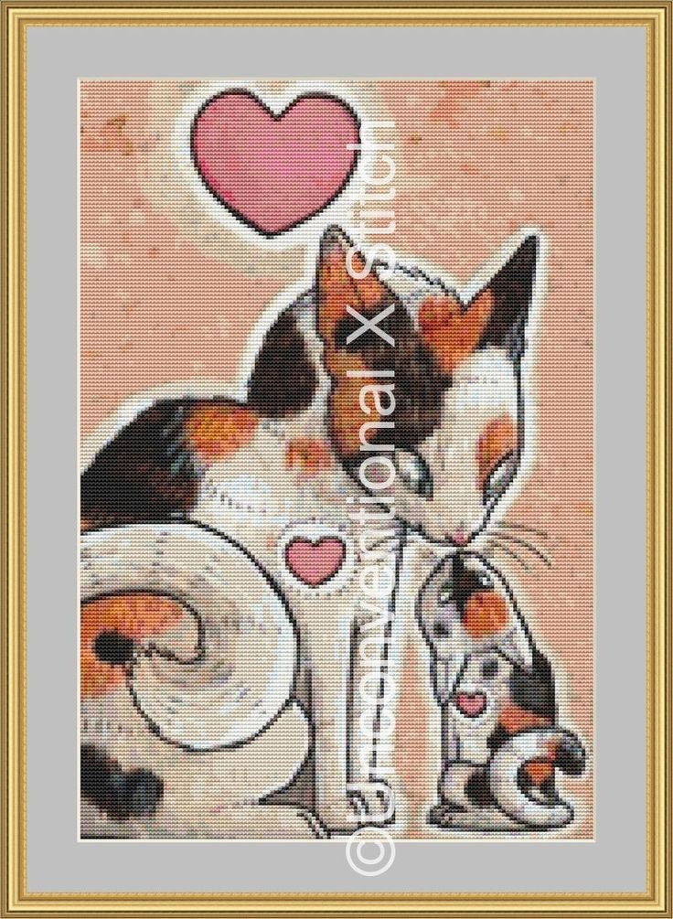 Momma Cat and kitten modern counted cross stitch pattern by UnconventionalX on Etsy