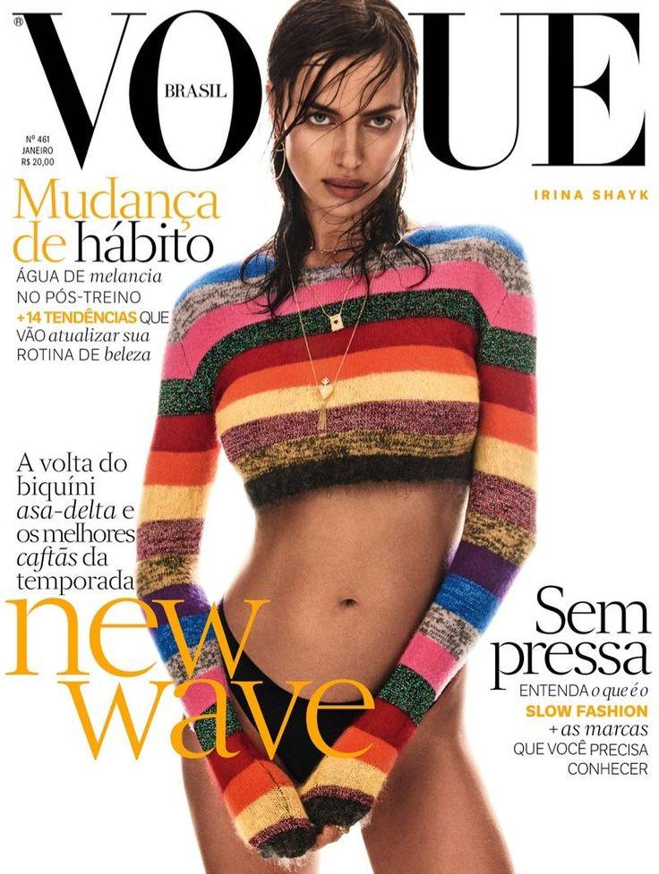 Model Irina Shayk wears Miu Miu sweater on Vogue magazine Brazil January 2017 cover