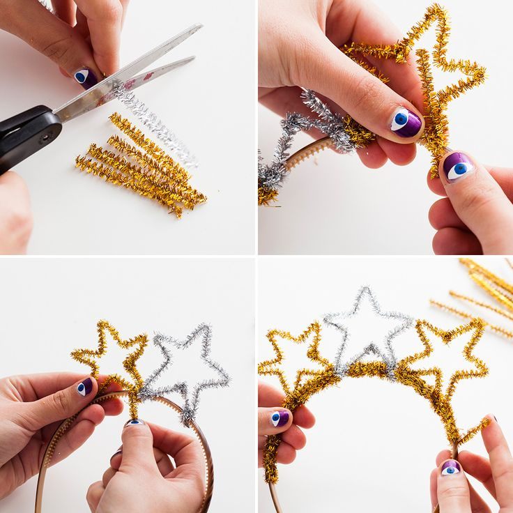 Crafts for Kids (Step-by-Step Instructions): Pipe cleaners and a regular headband combine in this easy kids' craft. Just help your little ones through the simple instructions, and you'll end up with glitzy tiaras that make a perfect last-minute substitution for New Year's Eve party hats (for adults, too). #newyears #newyearsparty @brit